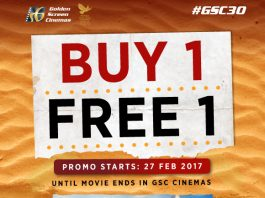 Golden Screen Cinemas Kung Fu Yoga movie ticket Buy 1 Free 1 promotion