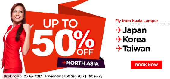 AirAsia Air Ticket Promotion 50% OFF North Asia Flight 2017