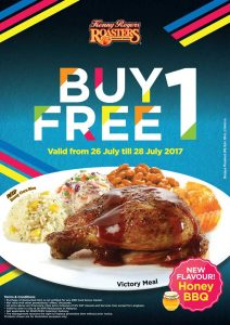 Kenny Rogers ROASTERS Promotion July 2017 Buy 1 Free 1 Honey BBQ