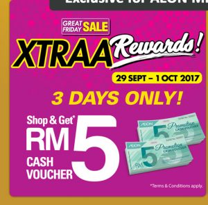 AEON Malaysia Promotion 2017 Great Friday Sale RM5 AEON Cash Voucher