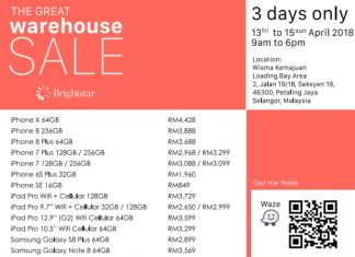Brightstar Malaysia Warehouse Sale April 2018