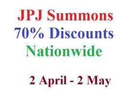 JPJ Summons 70% Discounts April 2018