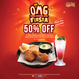 Kenny Rogers ROASTERS promotion 50% OFF August 2018