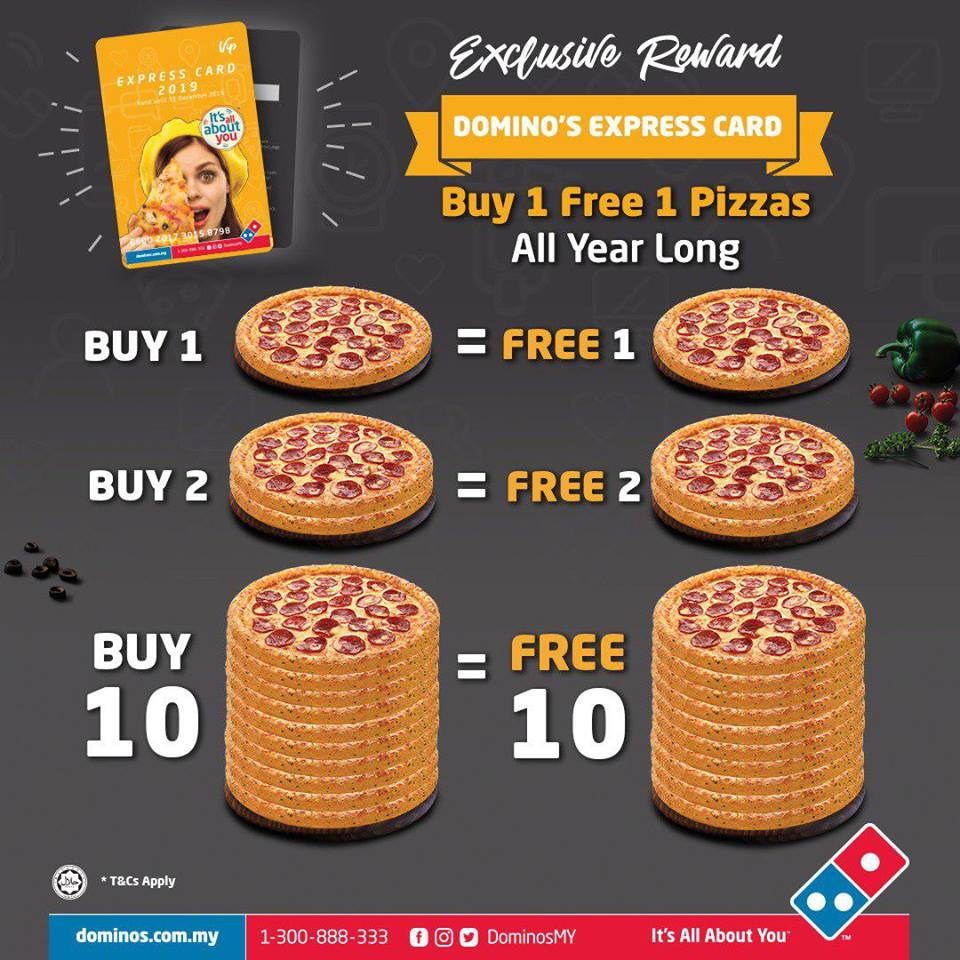 Domino Pizza Express Card 2019 Buy 1 Free 1 Deals