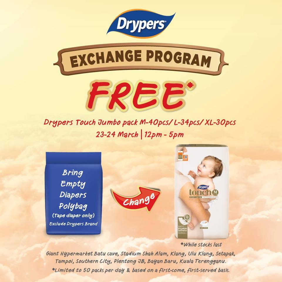 ad62d29e58a8c Free Drypers Exchange Program March 2019 - Coupon Malaysia, Malaysia ...