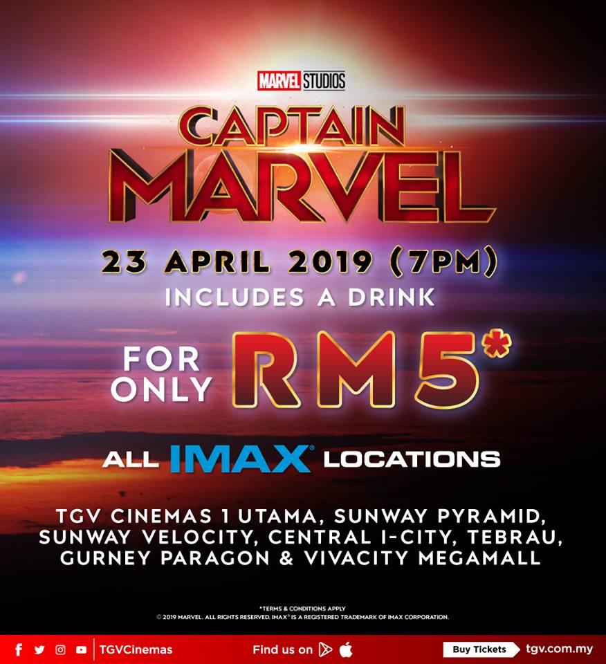 TGV Cinema IMAX Captain Marvel Movie Ticket RM5 Only